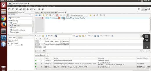 MySQL 5.7: MySQL JSON operator -> example